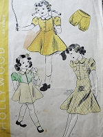 1930s Vintage ADORABLE Childs Dress in Three Styles with Matching Bloomers Hollywood Pattern 1741 Sewing Pattern Chest 26