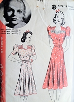 1930s Vintage PRETTY Belted Dress with Puffed Sleeves Hollywood Pattern 1791 Actress Marie Wilson Sewing Pattern Bust 36