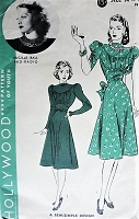 1940s LOVELY Easy To Sew Bias Skirt Dress Pattern HOLLYWOOD 1934 Featuring RKO Starlet LUCILLE BALL, Beautiful Figure Flattering Dress Bust 32 Vintage Sewing Pattern