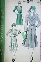 1940s LOVELY Dress and Coat Pattern HOLLYWOOD 1985 Beautiful Gathered Bodice Flattering Dress Design, Princesse Fitting Coat Bust 32 Vintage Sewing Pattern