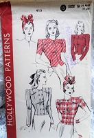 1940s FABULOUS Turban Hat and Fitted Jacket Pattern HOLLYWOOD 415 Flirty Hat and 4 Jacket Versions Bust 34 Vintage Sewing Pattern