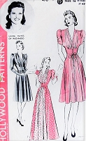 1940s GLAMOROUS Evening Party Hostess Gown or Day Dress Pattern HOLLYWOOD 470 Big Band Starlet Linda Hayes B 34 Vintage Sewing Pattern FACTORY FOLDED