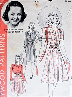 Vintage 1940s LOVELY Olivia De Havilland Belted Dress Hollywood Patterns 631 Sewing Pattern Bust 30