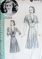 1930s BEAUTIFUL Dress Pattern HOLLYWOOD 691 Deep V Draped Neckline,2 Figure Flattering Styles,Features RKO Starlet Anne Shirley,Bust 34 Vintage Sewing Pattern