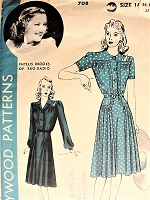 Vintage 1940s PHYLLIS BROOK RKO Actress Belted Dress Two Styles Hollywood Patterns 708 Bust 34