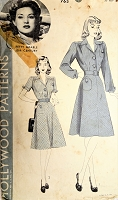 1940s BEAUTIFUL Tailored Dress Pattern HOLLYWOOD 763 Features Starlet BETTY GRABLE Bust 30 Vintage Sewing Pattern