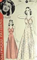 1940s BEAUTIFUL Nightgown Pattern HOLLYWOOD 776 Gorgeous design Featuring Paramount Starlet Ellen Drew Bust 34 Vintage Sewing Pattern FACTORY FOLDED