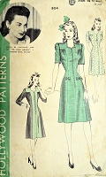 1940s STYLISH Dress Pattern HOLLYWOOD 804  Princesse Style Dress,Featuring Warner Bros Star OLIVIA De HAVILLAND Bust 32 Vintage Sewing Pattern
