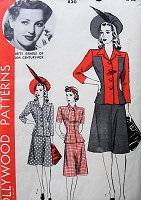 1940s FABULOUS Suit Pattern HOLLYWOOD 820 Featuring BETTY GRABLE Three Style Versions Suit or 2 Pc Dress Bust 34 Vintage Sewing Pattern