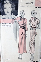 1930s BEAUTIFUL Dress Pattern HOLLYWOOD 864 Stunning Design Day or Evening Features RKO Starlet Betty Furness Bust 36 Sew Simple Vintage Sewing Pattern