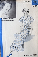 1930s BEAUTIFUL Wrap Dress Pattern HOLLYWOOD 871 Lovely Surplice Fronts Wrapped Dress,Tied At Left Side,Flirty Circular Flounce,Features Starlet Margaret Lindsay,Bust 34 Sew Simple Vintage Sewing Pattern