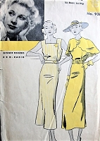 1930s GORGEOUS Art Deco Dress and Cape Pattern HOLLYWOOD 938 Featuring Movie Star Ginger Rogers Day or Evening B 32 Vintage Sewing Pattern