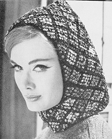 INSTANT DOWNLOAD PDF 1960 Vintage Knit Pattern Flirty Sequin Hood Hat Pattern Fun 60s Ski Resort Fashion Pattern