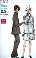 1960s MOD Pantsuit and Skirt Pattern VOGUE Special Design 7496 Bust 36 Vintage Sewing Pattern