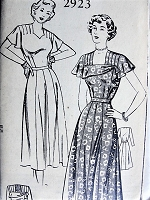 1940s PARTY Dress Mail Order Pattern 2923 Bust 30 Vintage Sewing Pattern