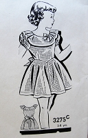 1940s CHARMING Girls Dress Pattern Mail Order 3275 Sweet Style With Pretty Collar and Puff Sleeves Size 6 Vintage Childrens Sewing Pattern