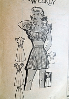 1940s PIN UP Dress, High Waist Shorts,Skirt and Midriff Top Pattern American Weekly 3789 Cute Weekend Wear Bust 32 Vintage Sewing Pattern