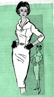 1960s SIZZLING Slim Dress Pattern Mail Order 4906 Figure Show Off Ultra Slim Dress, Wing Collar, Day or After 5 Bust 36 Vintage Sewing Pattern