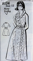 1960s PRETTY Hostess Robe Wrap Dress  Bust 34  Vintage Sewing Pattern