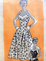1950s BEAUTIFUL Figure Flattering Cocktail Evening Party Dress and Bolero Pattern MARIAN MARTIN 9023 Stunning Halter Dress Bust 36 Vintage Sewing Pattern