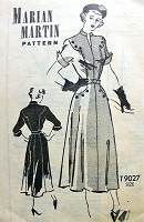 1940s PERKY Wing Sleeved Dress Pattern MARIAN MARTIN 9027 Beautifully Detailed Dress Bust 32 Vintage Sewing Pattern FACTORY FOLDED