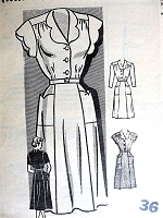 Late 40s Pretty Day Dress Pattern MARIAN MARTIN 9032 Two Style Versions Bust 36 Vintage Sewing Pattern