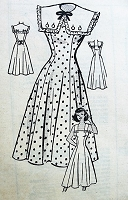 1940s PRETTY Sun Dress Pattern MARIAN MARTIN 9043 Sweet Button On Cape Collar Figure Flattering Design Bust 30 Vintage Sewing Pattern FACTORY FOLDED
