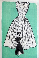 1950s BEAUTIFUL Summer or Party Dress Pattern Marian Martin 9065 Figure Flattering Full Skirt  V Neckline Dress Bust 34 Vintage Sewing Pattern FACTORY FOLDED