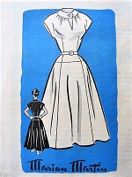 1950s LOVELY Keyhole Neckline Dress Pattern MARIAN MARTIN 9119 Lovely Flattering Design Daytime or After 5 Dress Bust 30 Vintage Sewing Pattern
