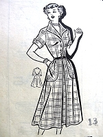 1950s PERKY Dress Pattern MARIAN MARTIN 9181 Cute Style Bust 32 Vintage Sewing Pattern