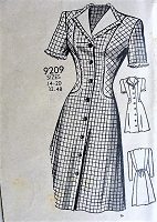 1940s CUTE Front Button Dress Pattern MARIAN MARTIN 9209 Swing Era  WW II Dress Bust 32 Vintage Sewing Pattern