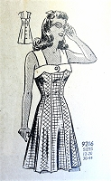 1940s BEAUTIFUL Button Back Sun Dress Pattern MARIAN MARTIN 9216 Figure Flattering Style Bust 34 Vintage Sewing Pattern