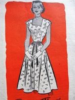 1950s Vintage LOVELY Dress with Square Neckline Marian Martin 9311 Sewing Pattern Bust 30