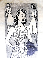 1940s PIN UP Glamour Summer Dress and Bolero Jacket Pattern MARIAN MARTIN 9348  Midriff Bias Cut Dress, Open Back Day or Evening Bust  30 Vintage Sewing Pattern