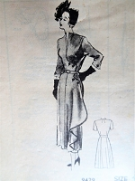 1940s HAUTE COUTURE Dress Pattern MARIAN MARTIN 9429 Very Schiaparelli Amazing Unique Details and Design Bust 34 Vintage Sewing Pattern