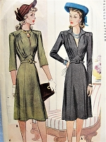 1940s BEAUTIFUL Dress Pattern McCALL 4493 Day or Cocktail Dinner Dress, 2 Necklines, Lovely Shaped Midriff, Draped Bodice Bust 32 Vintage Sewing Pattern