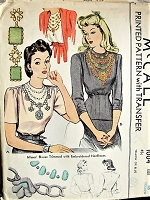 1940s ELEGANT Blouse with Embroidered Necklaces Vintage McCall 1004 Sewing Pattern Bust 36
