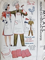 1940s VINTAGE Barbecue Apron, Chefs Hat, Oven Mitts and Transfers McCall 1040 Sewing Pattern