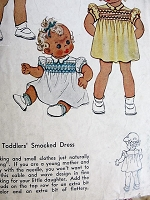 1940s Vintage SWEET Toddlers Smocked Dress McCall 1189 Chest 21 Sewing Pattern