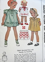 1940s Vintage SWEET Child's Smocked Dress with Puffed Sleeves and Transfer McCall 1255 Sewing Pattern Chest 21