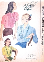 1940s BEAUTIFUL Blouse Pattern McCALL 1276 Quilted or Embroidered Yoke Three Styles Bust 34 Vintage Sewing Pattern