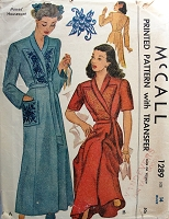 1940s BEAUTIFUL Housecoat Robe Brunch Coat Pattern McCALL 1289 Two Lovely Style Versions Includes Embroidery Transfer Bust 32 Vintage Sewing Pattern