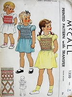 1940s Vintage SWEET Childs Smocked Dress McCall 1350 Chest 24 Sewing Pattern