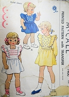 1940s DARLING Little Girls Dress Pattern McCALL 1400 Toddlers Pinafore Style Dress in 3 Versions Size 2 Childrens Vintage Sewing Pattern
