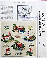 1950s QUAINT Rural Scenes Cross Stitch Transfer McCall 1520 Vintage Craft Pattern