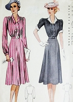 1930s CUTE  Dress Pattern McCALL 3204 Day or After 5 Two Styles Detachable Collar and Cuffs Bust 38 Vintage Sewing Pattern