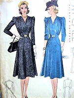 1930s BEAUTIFUL Dress Pattern McCALL 3384 Loevely Draped Bodice Shape V Neckline Day or Party Evening Dress Bust 38 Vintage Sewing Pattern