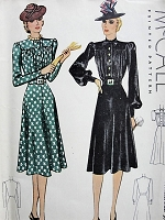 Vintage 1930s SOPHISTICATED High Collar Dress with Three Sleeve Styles McCall 3386 Sewing Pattern Bust 36