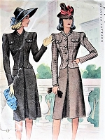 1940s STYLISH Suit Pattern McCALL 4074 Fitted Shorter Jacket, Flared Front Pleat Skirt, Figure Flattering Design WW II Era Suit Bust 30 Vintage Sewing Pattern