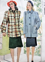 Vintage 1940s CLASSIC Coat with Optional Cuffs and Pockets McCall 4207 Sewing Pattern Bust 30